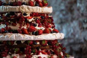 Wedding cake/sweet -Chocolate merinque fresh summer fruit torte