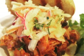 Pulled chicken with an Apple cider sauce