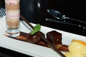 Trio of chocolate dessert