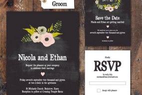 Floral Chalkboard, wedding stationery range