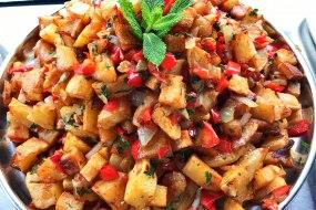 Batata Harra (spicy potato) traditional Lebanese dish