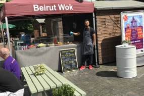 Our chef Mostafa in front of the tent at Enfield town Market