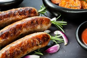 Hand made sausages from our butcher