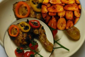 Fried Ripe Plantain served with Marinated Grilled Chicken Leg