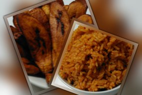 Jollof Rice with Fried Ripe Plantain.