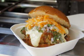 BBQ pulled pork, smoked cheese, chimmichurri, fermented carrot slaw