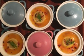 individual pots of smoked salmon rillete, preserved lemon and pink peppercorn butter