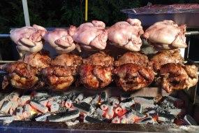 Spitroast chickens