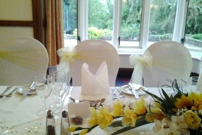 White Stretch Chair Covers + Lemon Organza Sash