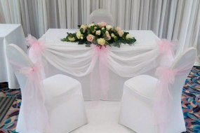 White Stretch Chair Covers + Baby Pink Organza Sash