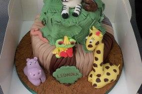 jungle themed 2 tier birthday cake