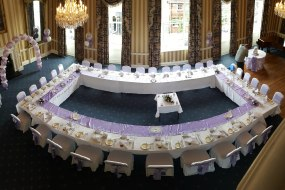 balloon decor, chair covers, table runners
