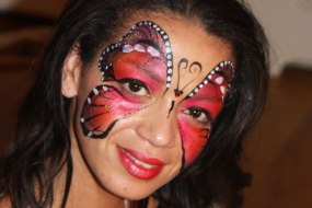 Donata's Face Painting - Red butterfly www.donatasfacepainting.co.uk