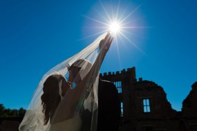 Bride and groom silhouette at Cowdray Manor, West Sussex