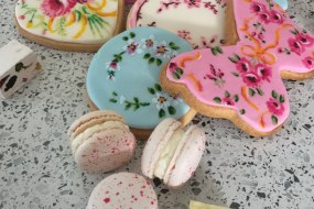 Hand painted cookies, macaroons, fudge