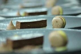Chocolate tart, macaroon, passion fruit creameux