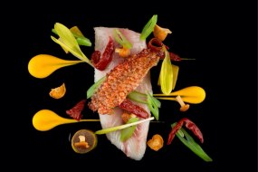 Red mullet, oxtail and pumpkin