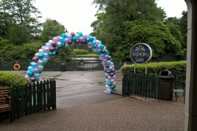 Balloon arch for corporate event at Alton Towers Hospitality Suite, Staffordshire