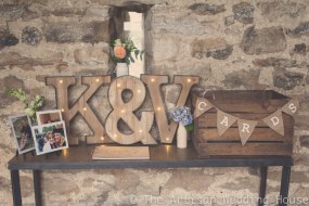 LED Vintage letters with wooden crate box and hessian bunting