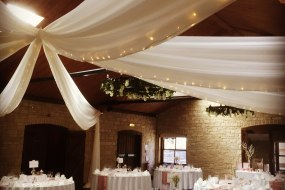 ceiling draping with fairy lights