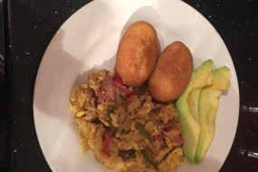 Ackee & Saltfish with festivals and avocado