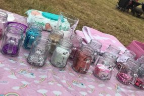 Glitter pots ready for a festival