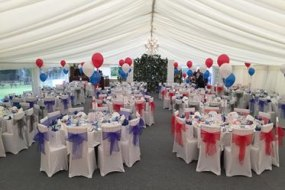 Table centre pieces in a marquee