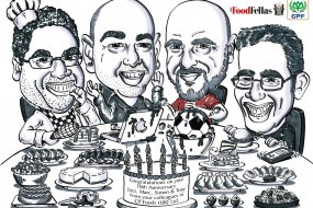 Group caricature for a company's 10th anniversary