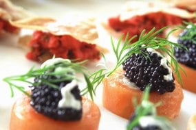 salmon and black caviar blinis canapes