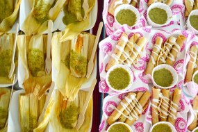 catering examples - vegan tamales and flats