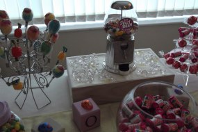 Your choice of sweets displayed on a decorated table