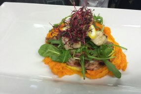 Pan fried scallops, butternut squash and rocket.