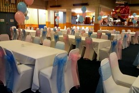Childrens Birthday Party, Baby Blue and Baby Pink Sashes with Baby Blue and Baby Pink Balloons.