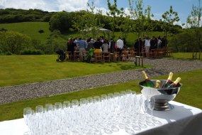 Ready to serve welcome drinks after a wedding ceremony at Pengenna Manor