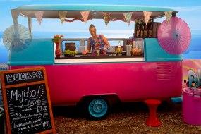 'Shiva' our pink & blue VW camper bar