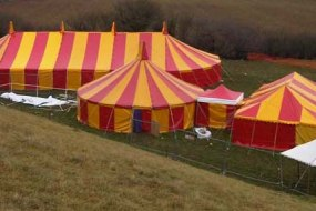 Colourful stripy tents and marquees for hire