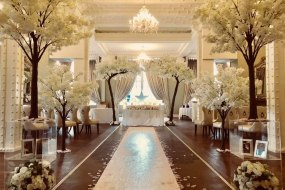 Our blossom trees and canopy set up for a elegant wedding ceremony