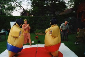 An adult outdoor sumo party