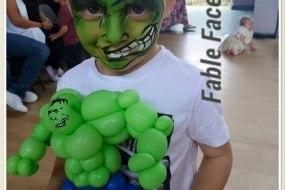 Face Painting hulk and Hulk balloon model