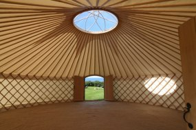 Interior of 28' Roundhouse Yurt