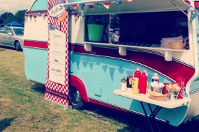 Vintage and quirky converted caravan with an Americana feel.