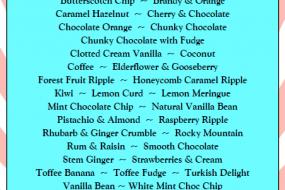 Derbyshire Ice Cream Bike 07551 756355 full flavour list