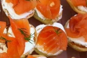 Smoked Salmon Blinis with cream cheese & fresh dill