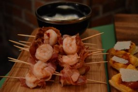 Streaky Bacon and Prawn Nibbles, served with a BBQ sauce