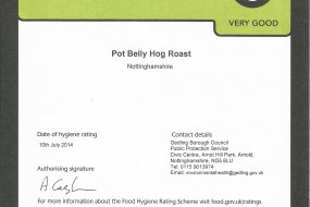 Pot Belly Hog Roast Food Hygiene Rating.