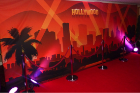 Hollywood backdrop and red carpet walkway for hire