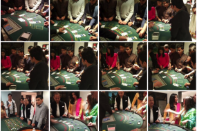 Collage of images of playing guests taken at Hitesh's 21st Birthday party casino