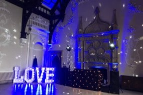 Wedding reception with giant LOVE letters