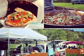 vegan pizza, wedding set up