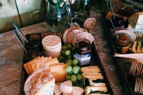 Wedding catering rustic cheese platter for evening buffet